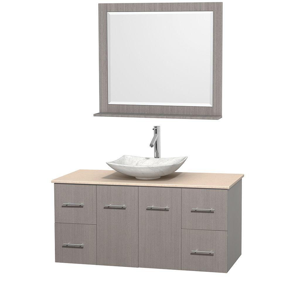 Meuble simple Centra 48 po. chêne gris, comptoir marbre ivoire, lavabo blanc Carrare, miroir 36 p...