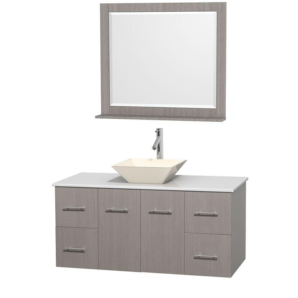 Centra 48-inch W Vanity in Grey Oak with Solid Top with Bone Basin and Mirror