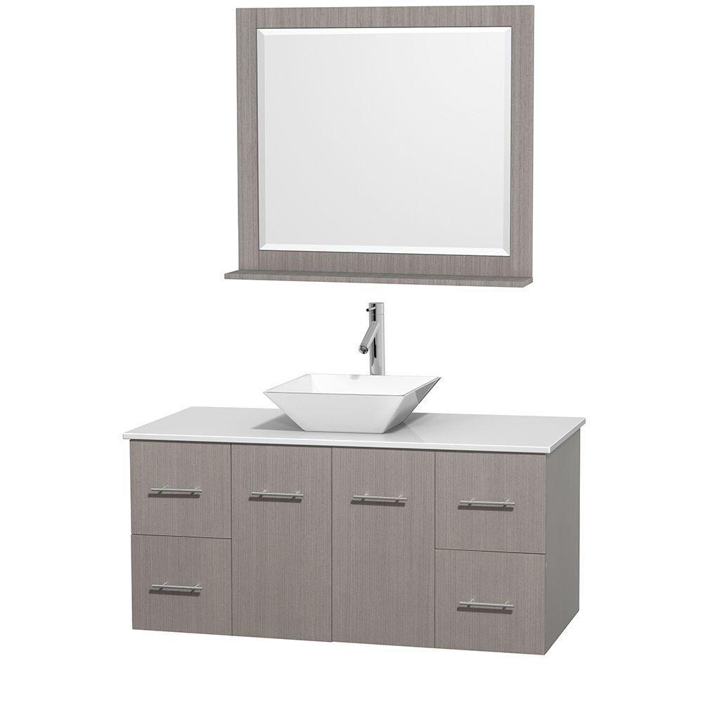 Meuble unique Centra 48 po. chêne gris, comptoir solide, lavabo porcelaine blanche, miroir 36 po.
