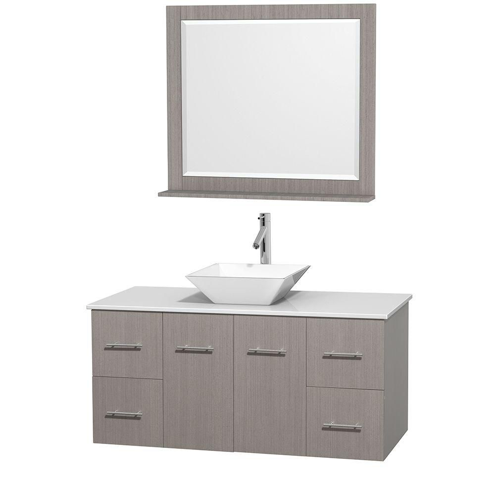 Centra 48-inch W Vanity in Grey Oak with Solid Top with White Basin and Mirror