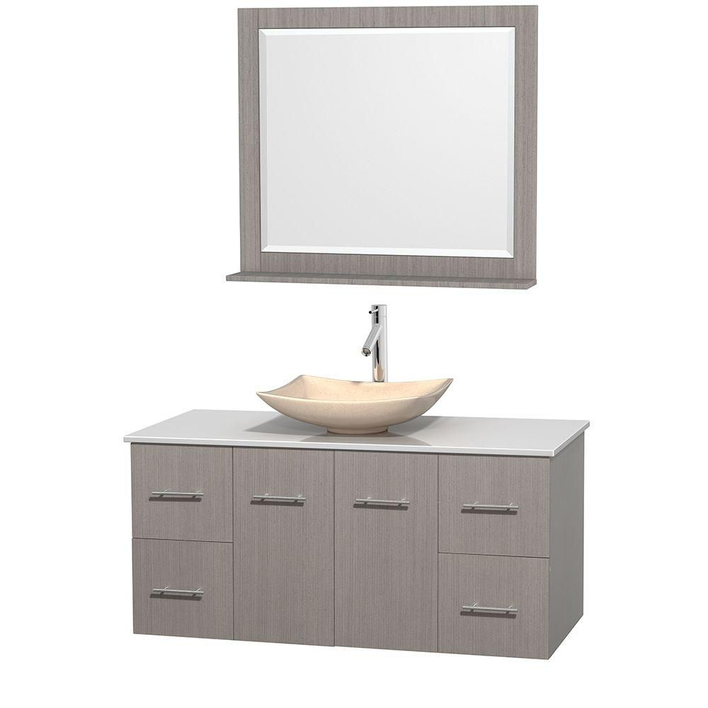 Centra 48-inch W Vanity in Grey Oak with Solid Top with Ivory Basin and Mirror