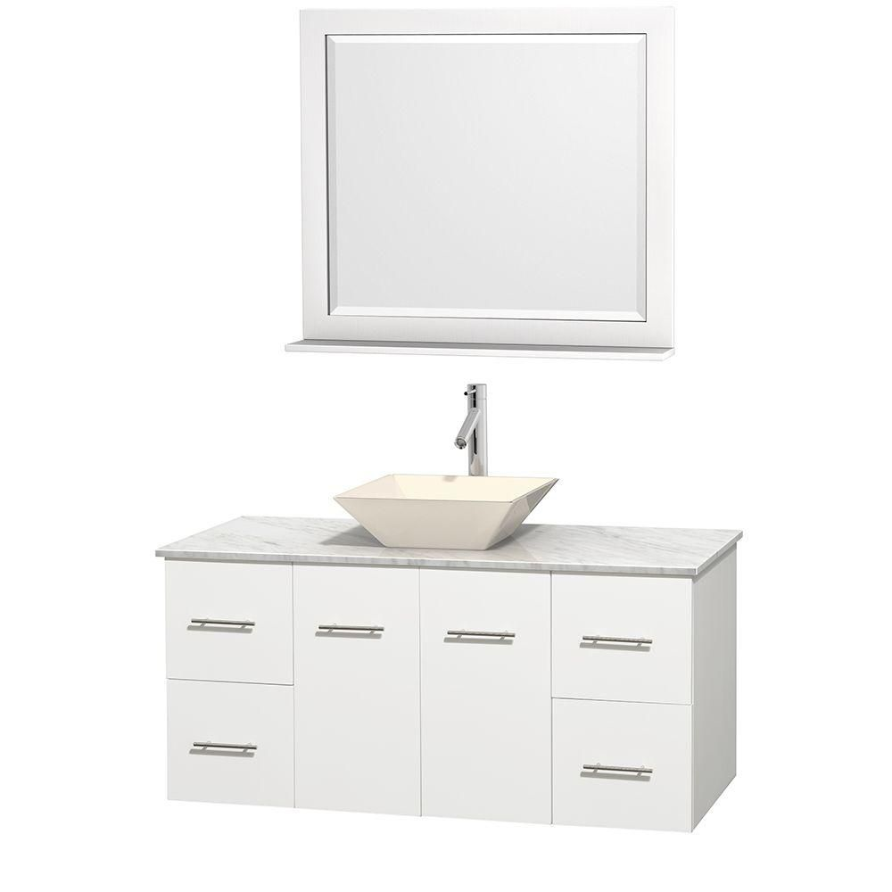 Wyndham Collection Centra 48-inch W 4-Drawer 2-Door Wall Mounted Vanity in White With Marble Top in White With Mirror