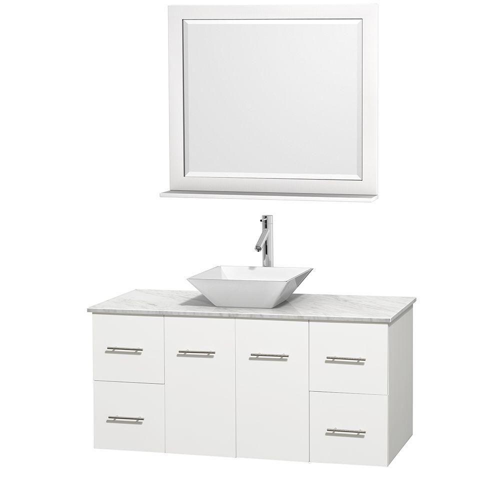 Meuble unique Centra 48 po. blanc, comptoir blanc Carrare, lavabo porcelaine blanche, miroir 36 p...