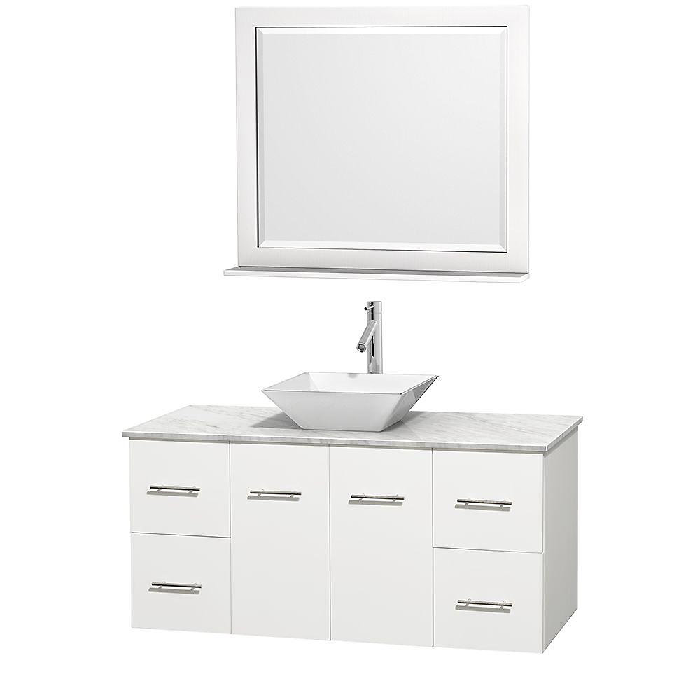 Centra 48-inch W 4-Drawer 2-Door Wall Mounted Vanity in White With Marble Top in White With Mirror