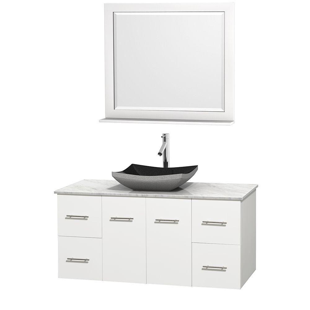 Meuble simple Centra 48 po. blanc, comptoir blanc Carrare, lavabo granit noir, miroir 36 po.