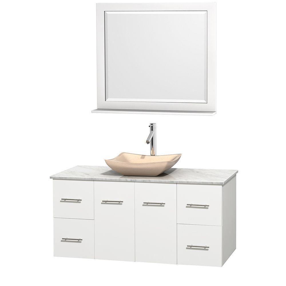 Meuble simple Centra 48 po. blanc, comptoir blanc Carrare, lavabo ivoire, miroir 36 po.