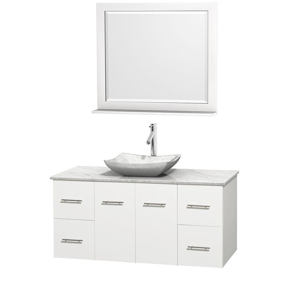 Meuble simple Centra 48 po. blanc, comptoir blanc Carrare, lavabo blanc Carrare, miroir 36 po.