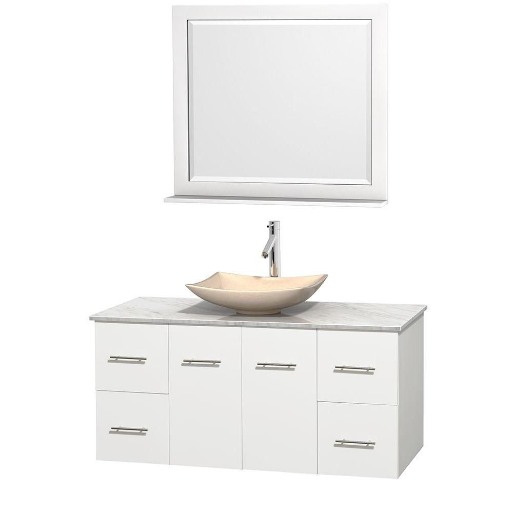 Centra 48-inch W Vanity in White with White Top with Ivory Basin and Mirror