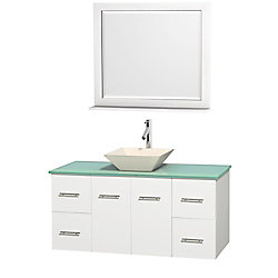 Wyndham Collection Centra 48-inch W 4-Drawer 2-Door Wall Mounted Vanity in White With Top in Green With Mirror