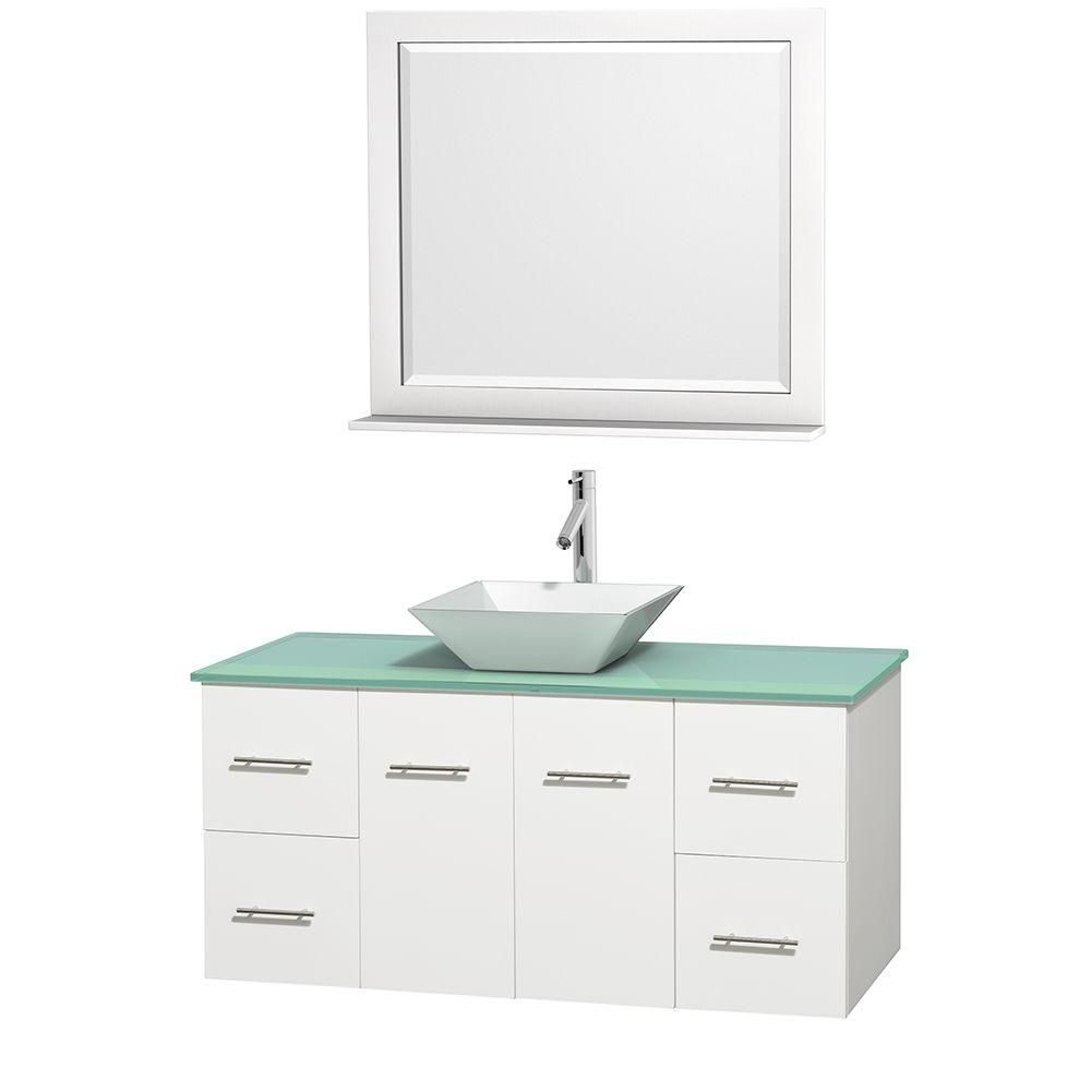 Centra 48-inch W Vanity in White with Glass Top with White Basin and Mirror