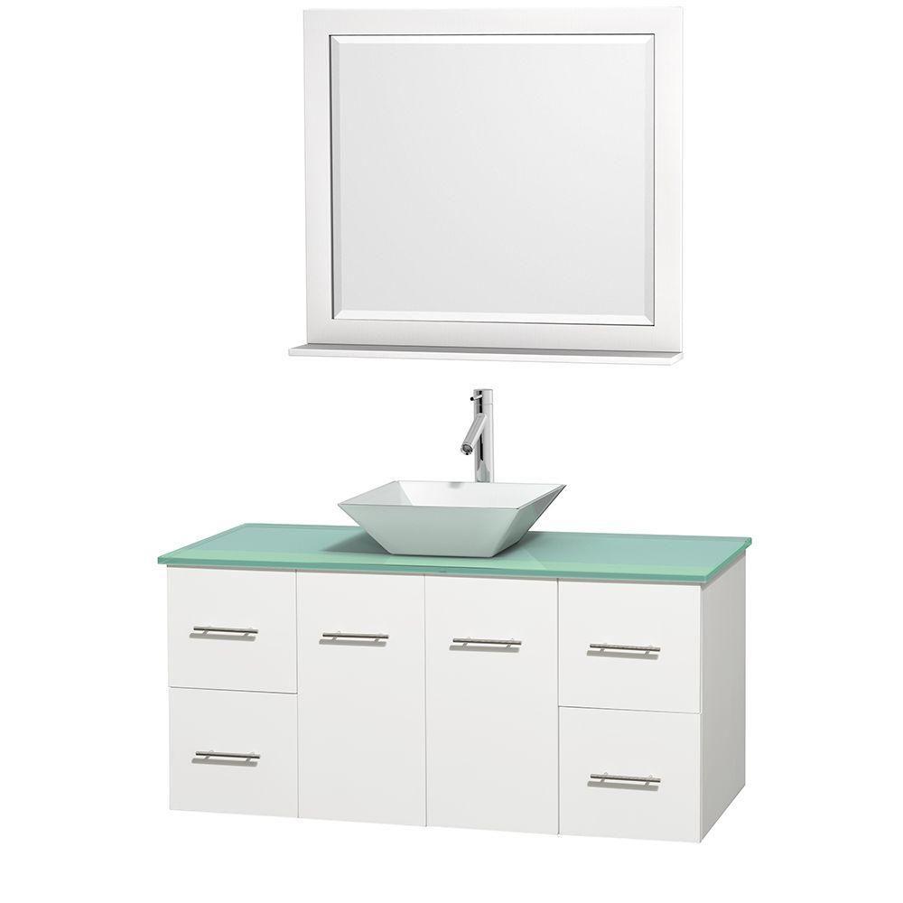 Meuble unique Centra 48 po. blanc, comptoir verre vert, lavabo porcelaine blanche, miroir 36 po.