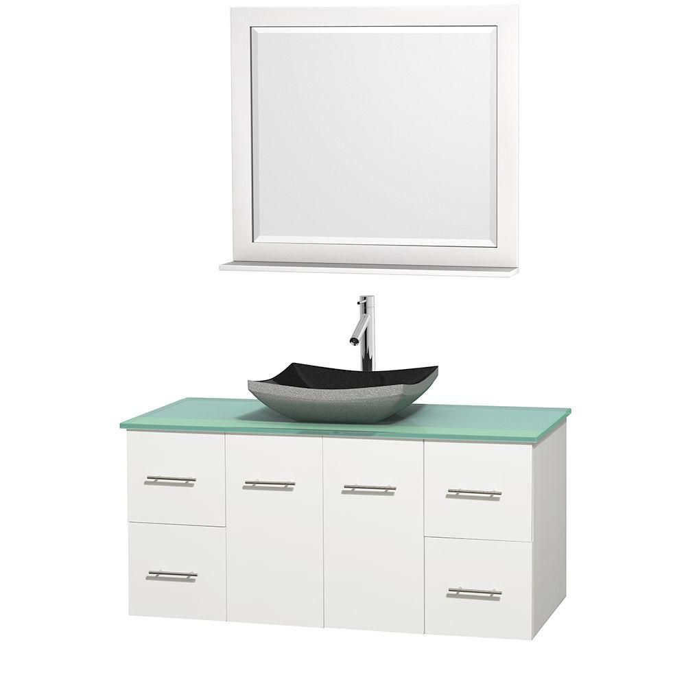 Centra 48-inch W Vanity in White with Glass Top with Black Basin and Mirror