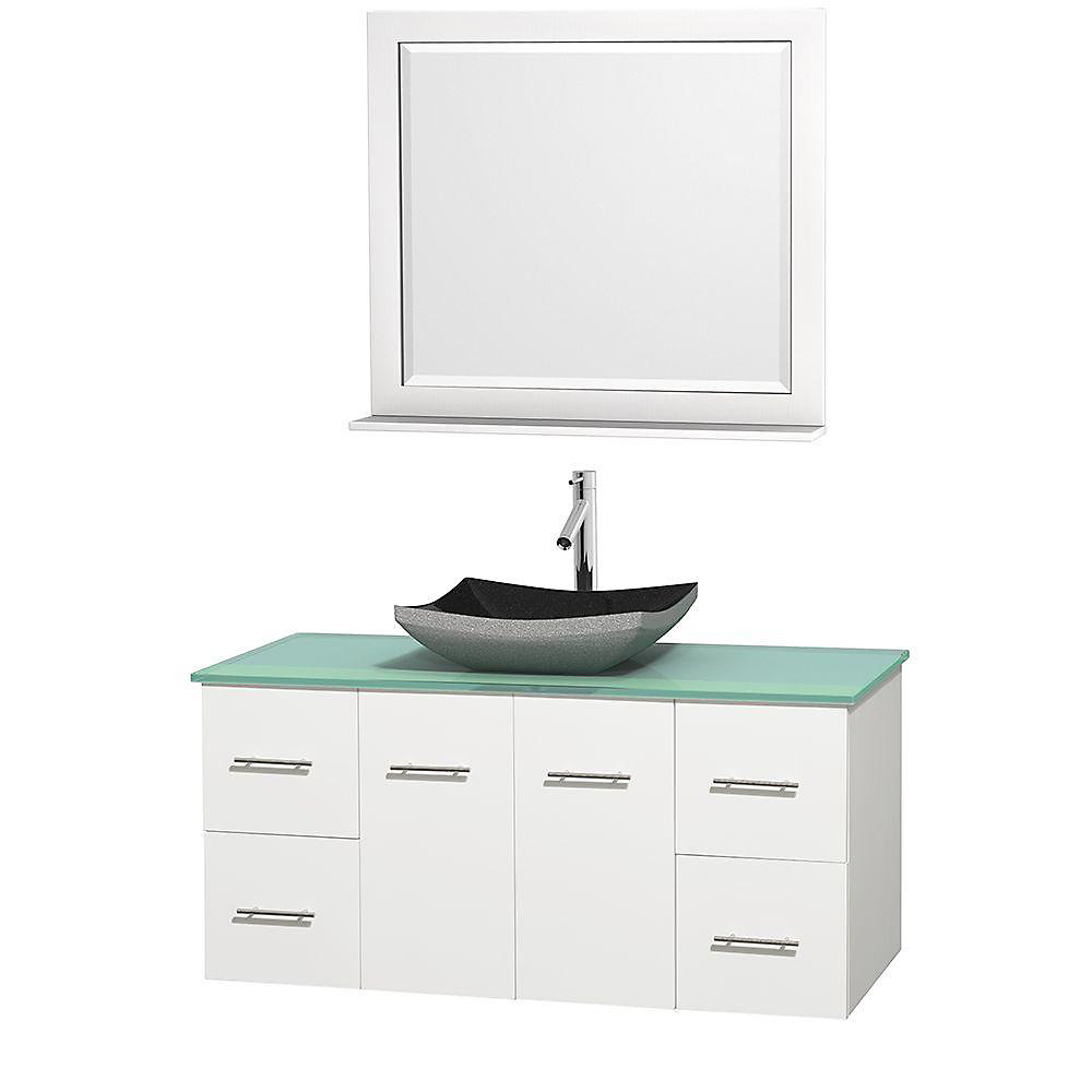 Centra 48-inch W 4-Drawer 2-Door Wall Mounted Vanity in White With Top in Green With Mirror