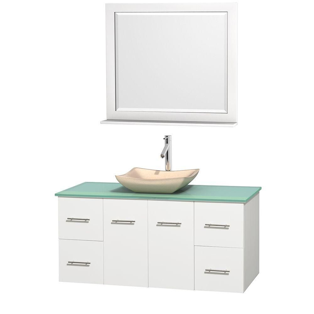 Centra 48-inch W Vanity in White with Glass Top with Ivory Basin and Mirror