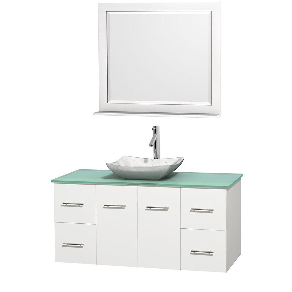 Meuble simple Centra 48 po. blanc, comptoir verre vert, lavabo blanc Carrare, miroir 36 po.