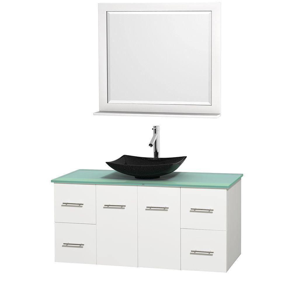 Meuble simple Centra 48 po. blanc, comptoir verre vert, lavabo granit noir, miroir 36 po.