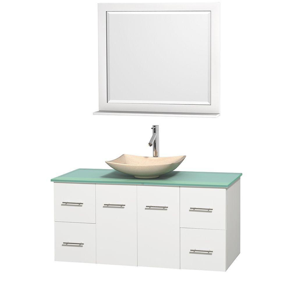 Meuble simple Centra 48 po. blanc, comptoir verre vert, lavabo ivoire, miroir 36 po.