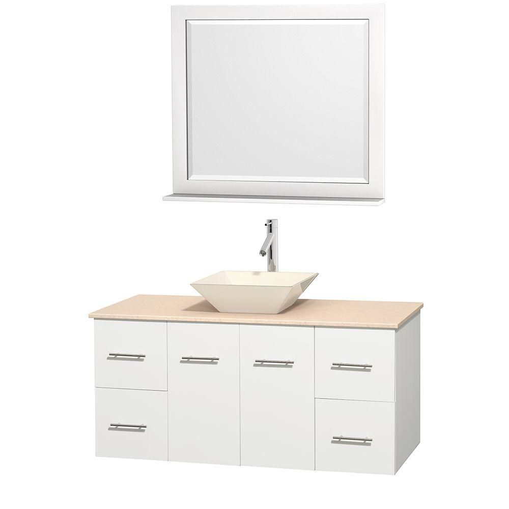 Centra 48-inch W Vanity in White with Marble Top in Ivory with Bone Basin and Mirror