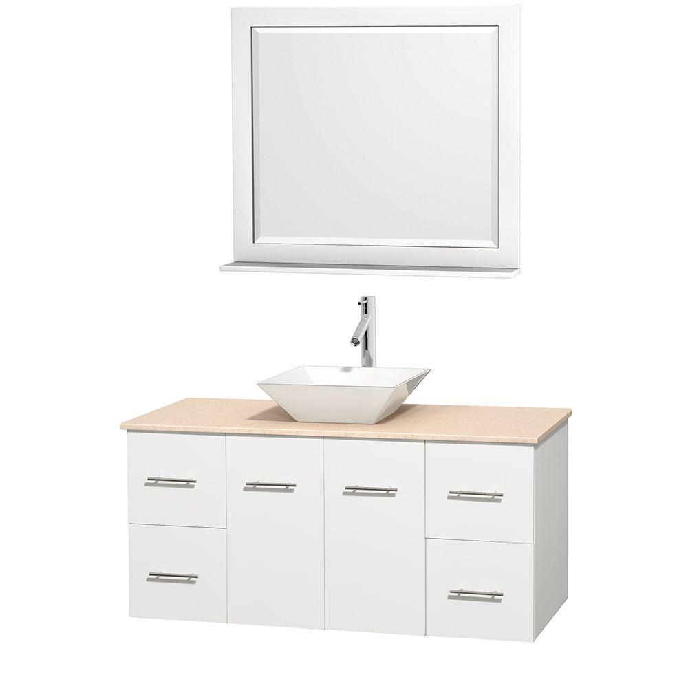 Meuble unique Centra 48 po. blanc, comptoir marbre ivoire, lavabo porcelaine blanche, miroir 36 p...