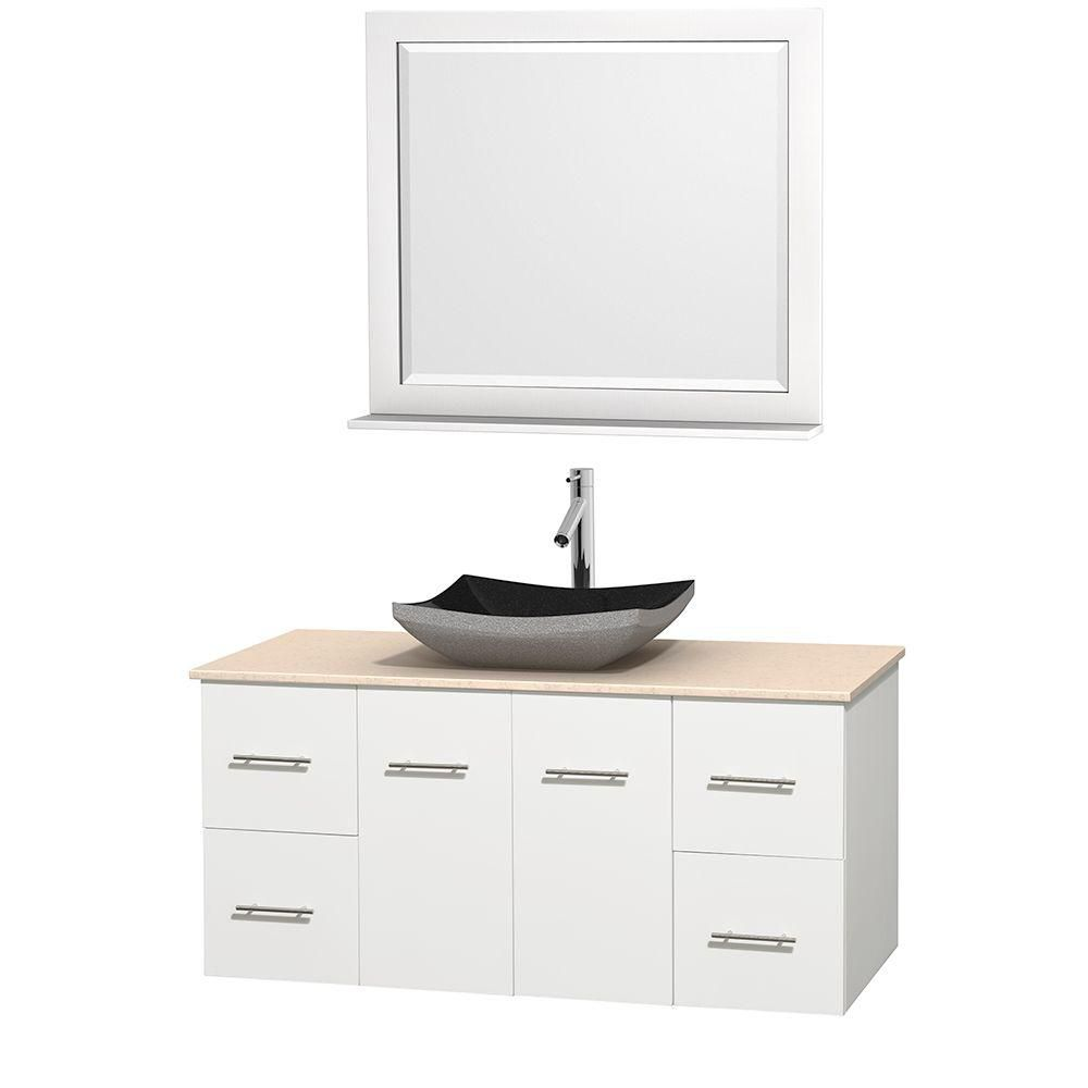 Centra 48-inch W Vanity in White with Marble Top in Ivory with Black Basin and Mirror