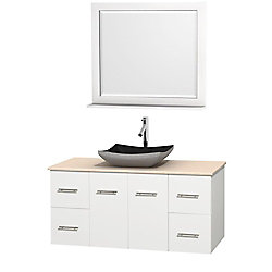 Wyndham Collection Centra 48-inch W 4-Drawer 2-Door Wall Mounted Vanity in White With Marble Top in Beige Tan