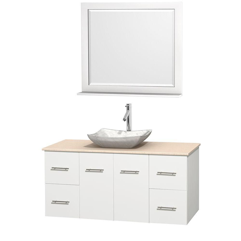 Centra 48-inch W Vanity in White with Marble Top in Ivory with White Basin and Mirror