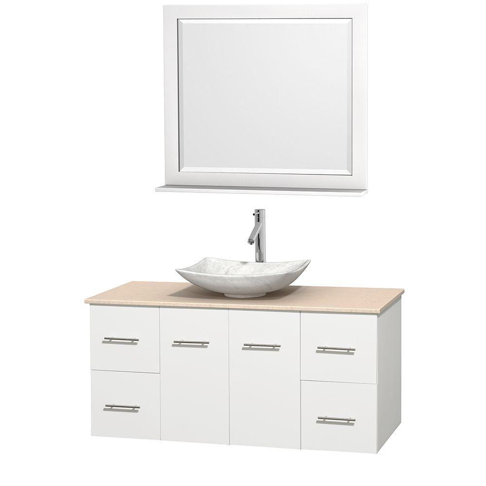 Meuble simple Centra 48 po. blanc, comptoir marbre ivoire, lavabo blanc Carrare, miroir 36 po.
