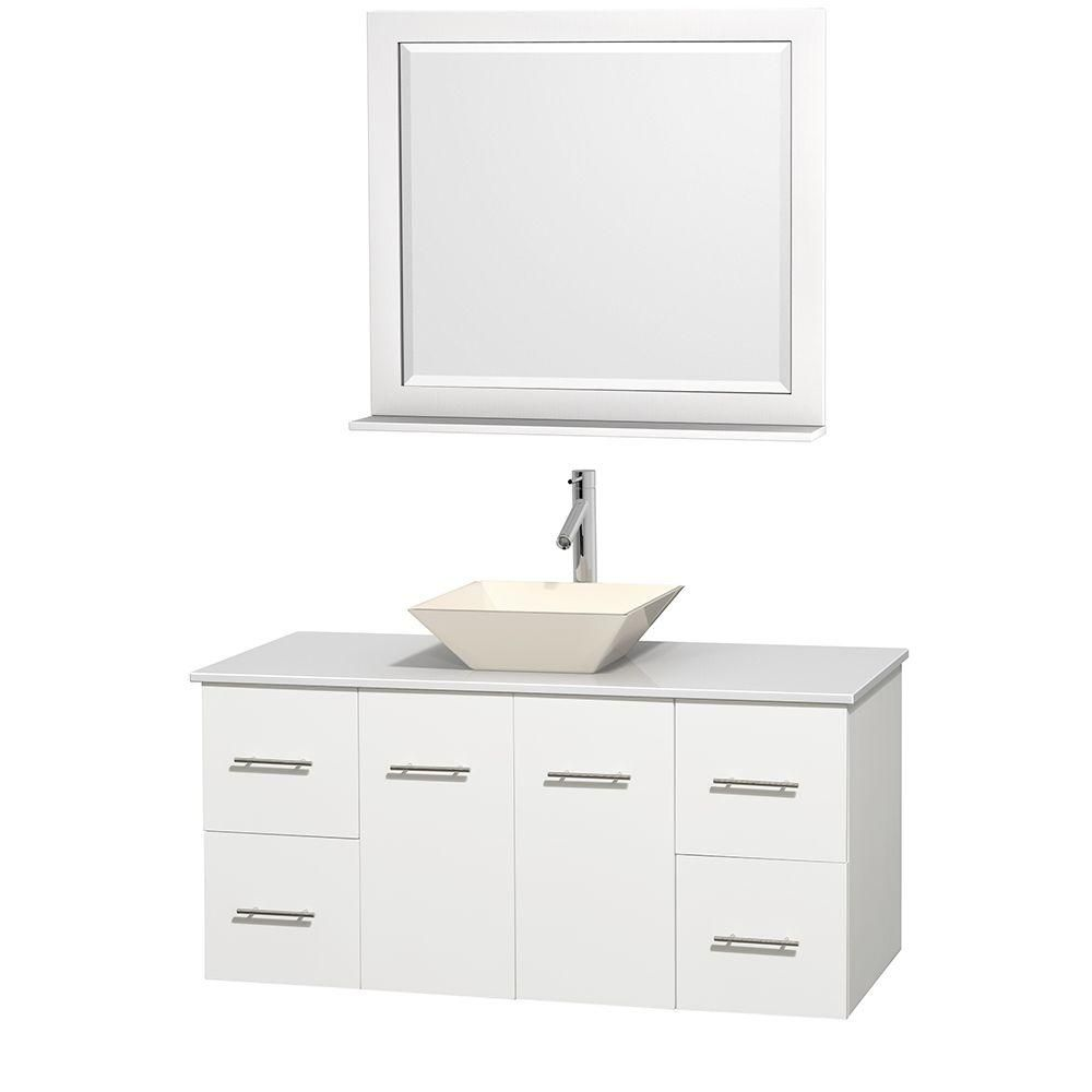 Centra 48-inch W Vanity in White with Solid Top with Bone Basin and Mirror