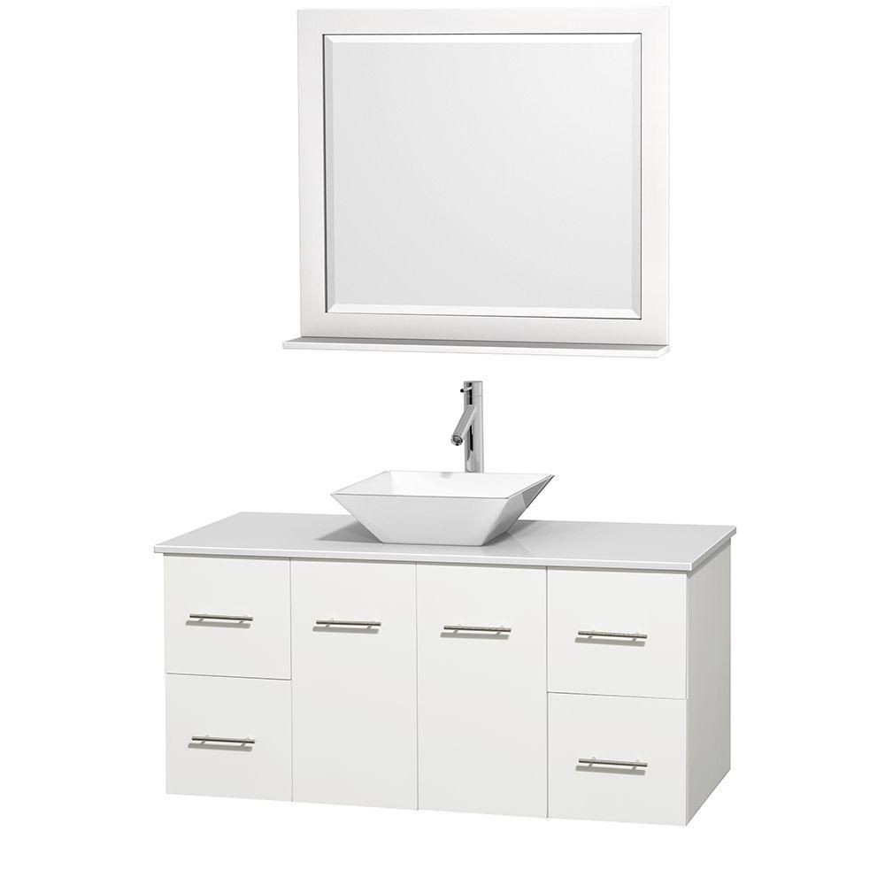Centra 48-inch W Vanity in White with Solid Top and 36-inch Mirror