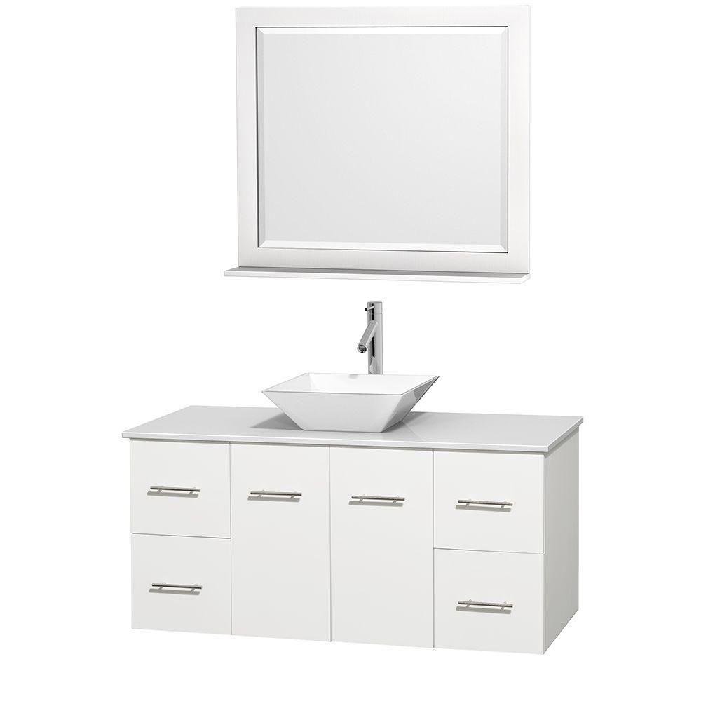 Meuble unique Centra 48 po. blanc, comptoir solide, lavabo porcelaine blanche, miroir 36 po.