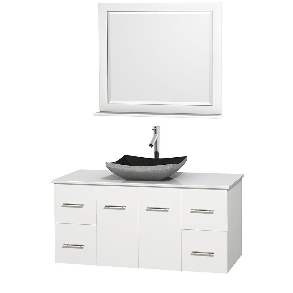 Centra 48-inch W Vanity in White with Solid Top with Black Basin and Mirror