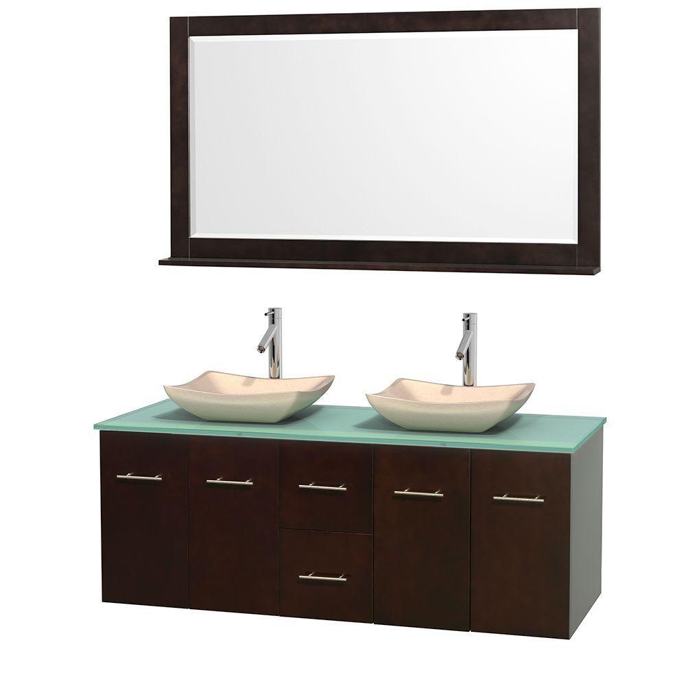 Meuble double Centra 60 po. espresso, comptoir verre vert, lavabos ivoire, miroir 58 po.