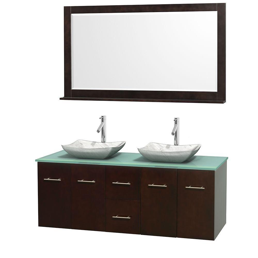 Meuble double Centra 60 po. espresso, comptoir verre vert, lavabos blanc Carrare, miroir 58 po.