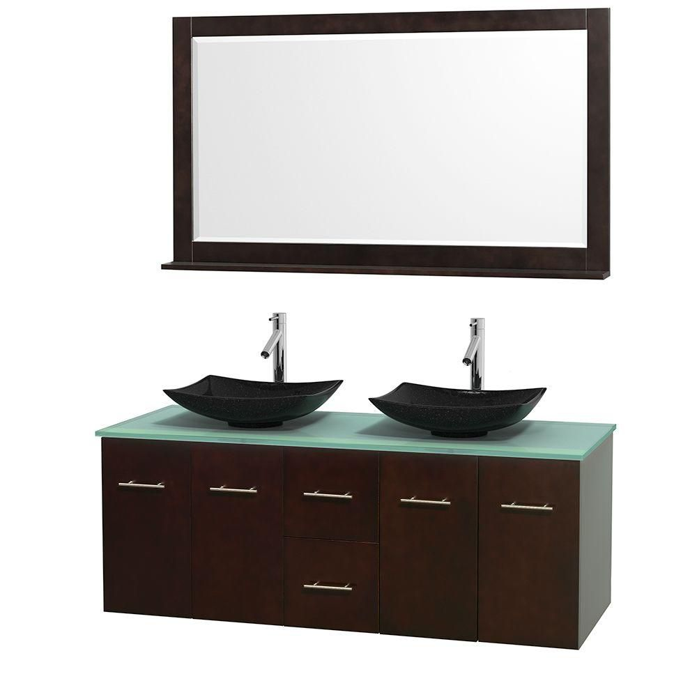 Centra 60-inch W Double Vanity in Espresso with Glass Top with Black Basins and Mirror