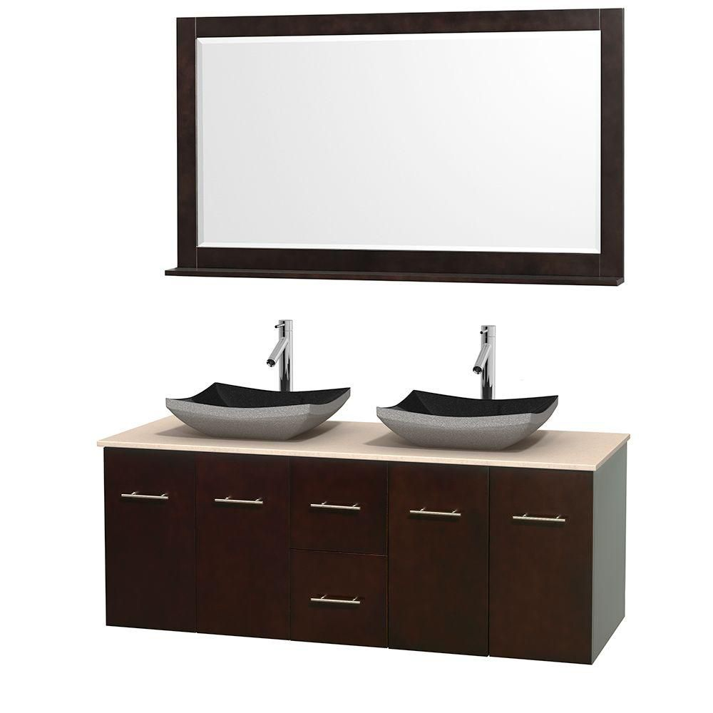 Centra 60-inch W Double Vanity in Espresso with Marble Top in Ivory with Black Basins and Mirror