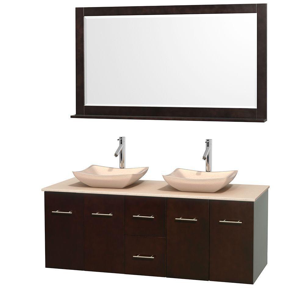 Meuble double Centra 60 po. espresso, comptoir marbre ivoire, lavabos ivoire, miroir 58 po.