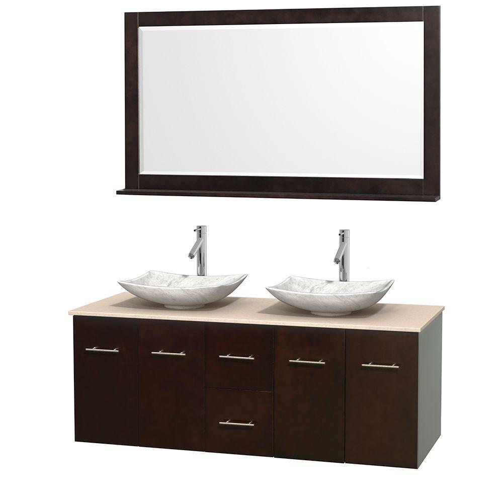 Meuble double Centra 60 po. espresso, comptoir marbre ivoire, lavabos blanc Carrare, miroir 58 po...