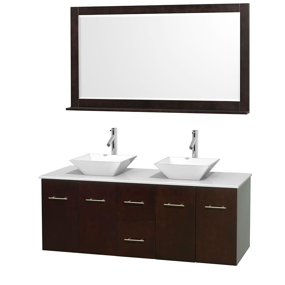Centra 60 In. Double Vanity in Espresso with Solid SurfaceTop with White Porcelain Sinks and 58 In. Mirror WCVW00960DESWSD2WM58 Canada Discount
