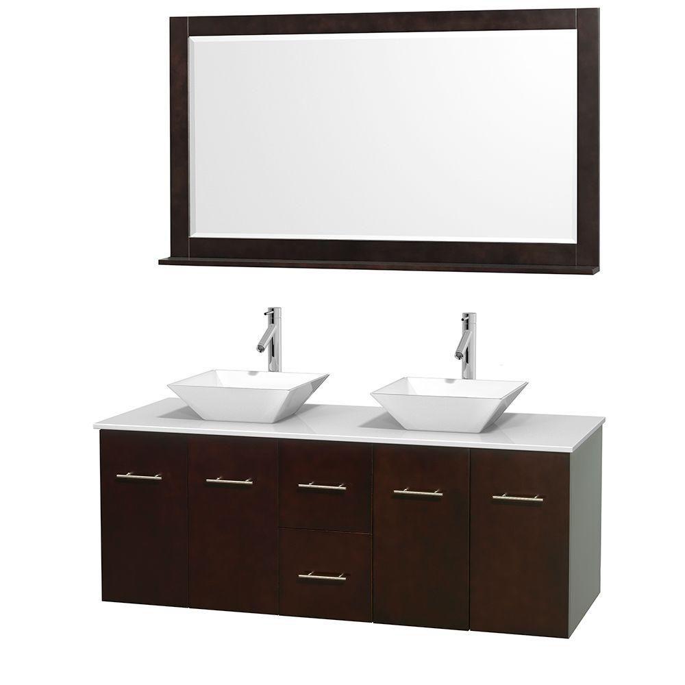 Meuble double Centra 60 po. espresso, comptoir solide, lavabos porcelaine blanche, miroir 58 po.