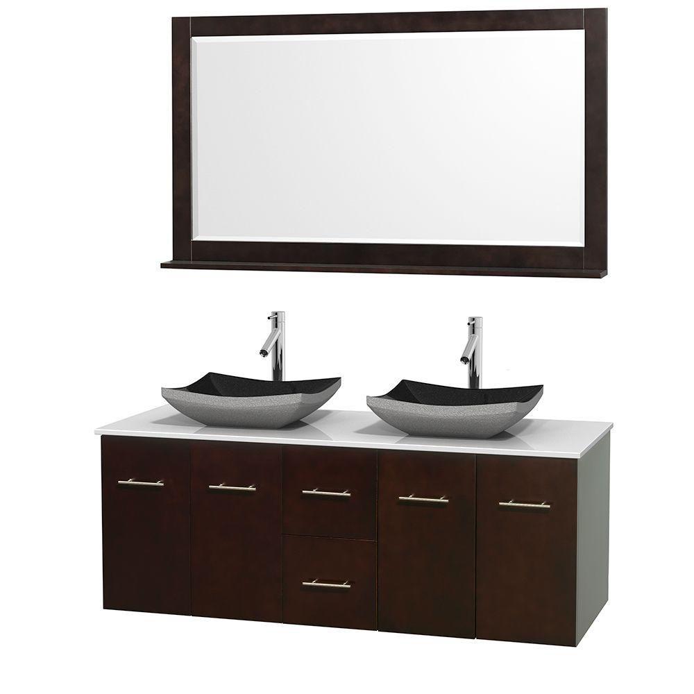 Meuble double Centra 60 po. espresso, comptoir solide, lavabos granit noir, miroir 58 po.