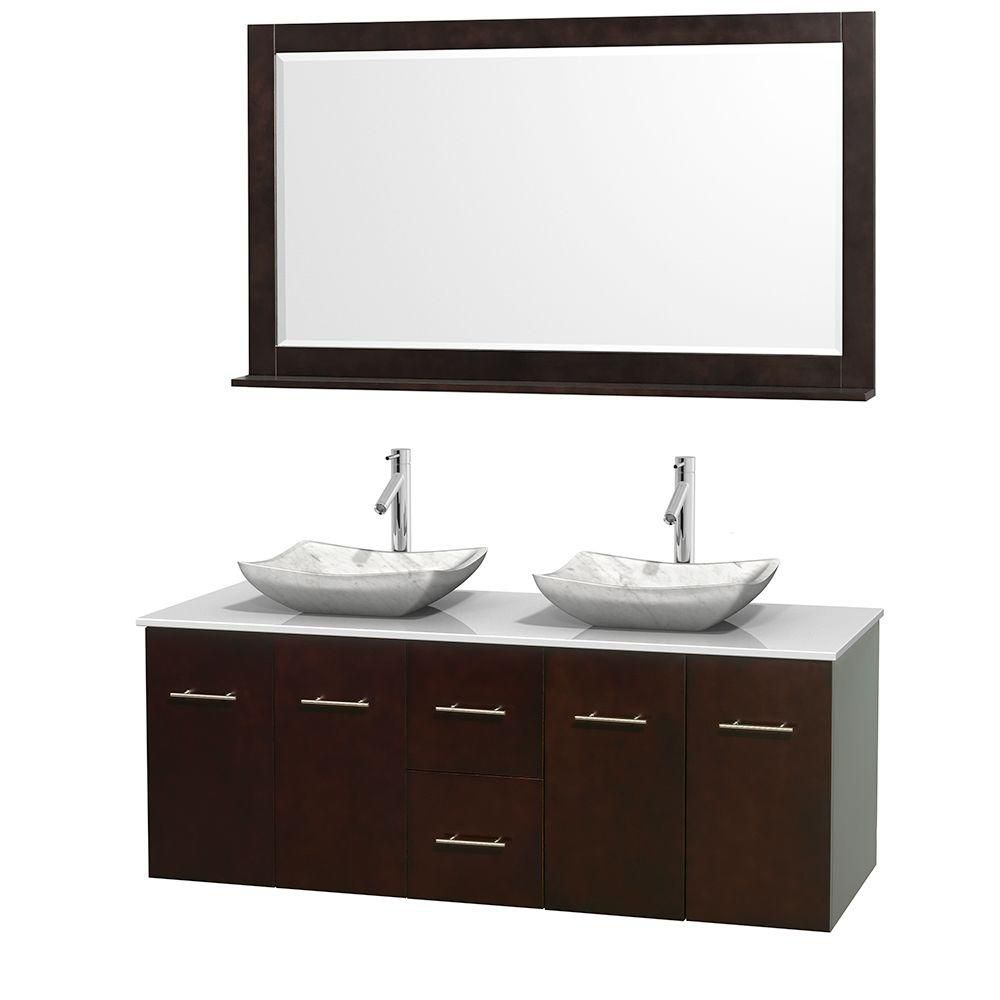 Centra 60-inch W Double Vanity in Espresso with Solid Top with White Basins and Mirror