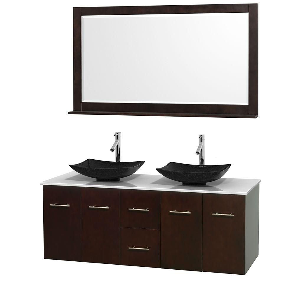 Centra 60-inch W Double Vanity in Espresso with Solid Top with Black Basins and Mirror