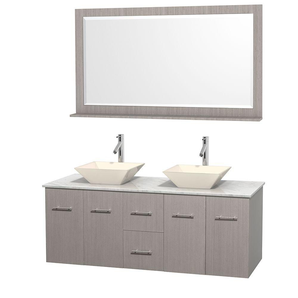 Centra 60-inch W Double Vanity in Grey Oak with White Top with Bone Basins and Mirror