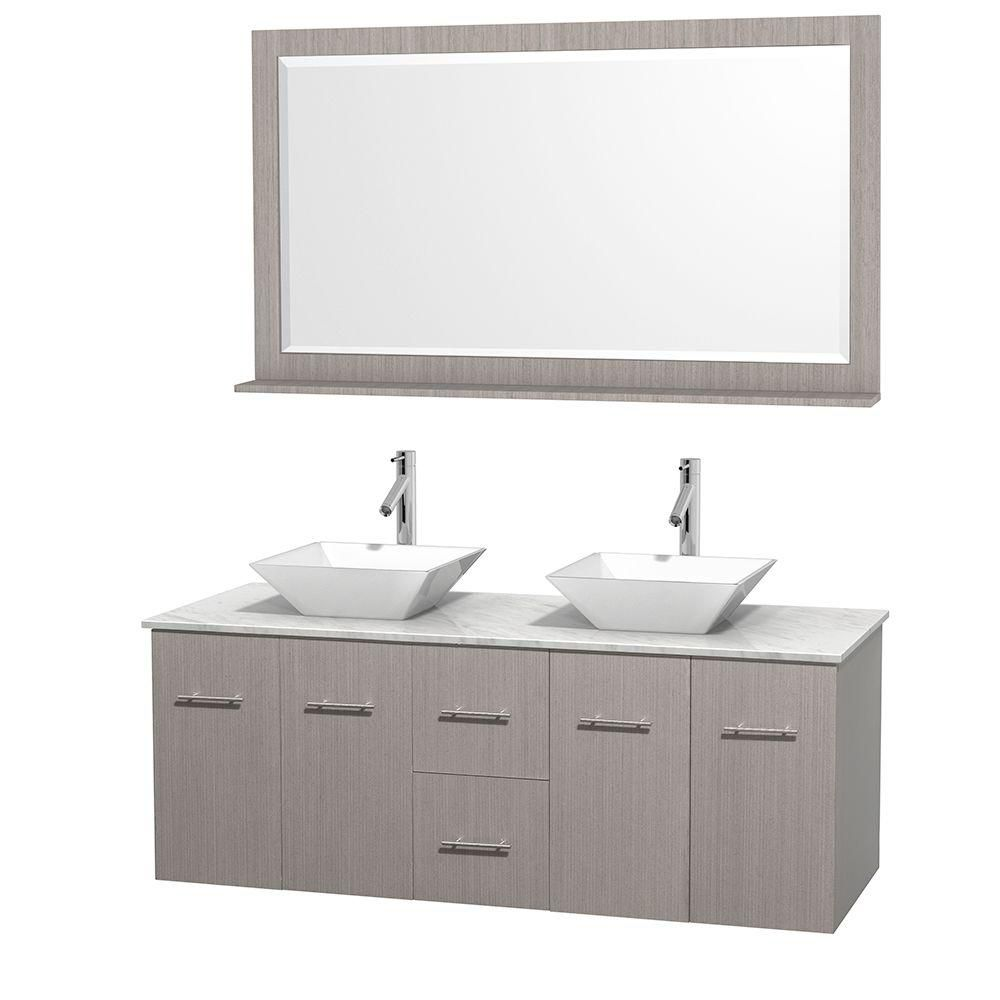 Centra 60-inch W Double Vanity in Grey Oak with White Top with White Basins and Mirror