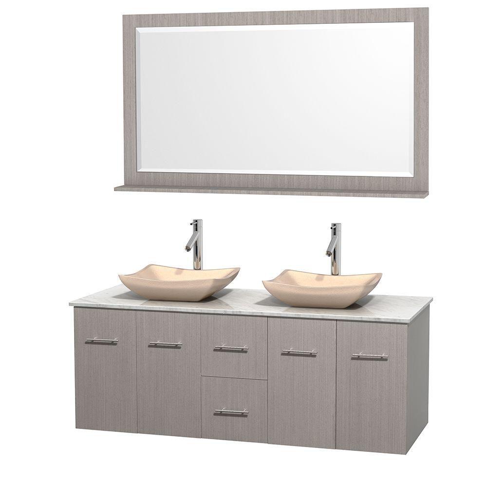 Meuble double Centra 60 po. chêne gris, comptoir blanc Carrare, lavabos ivoire, miroir 58 po.