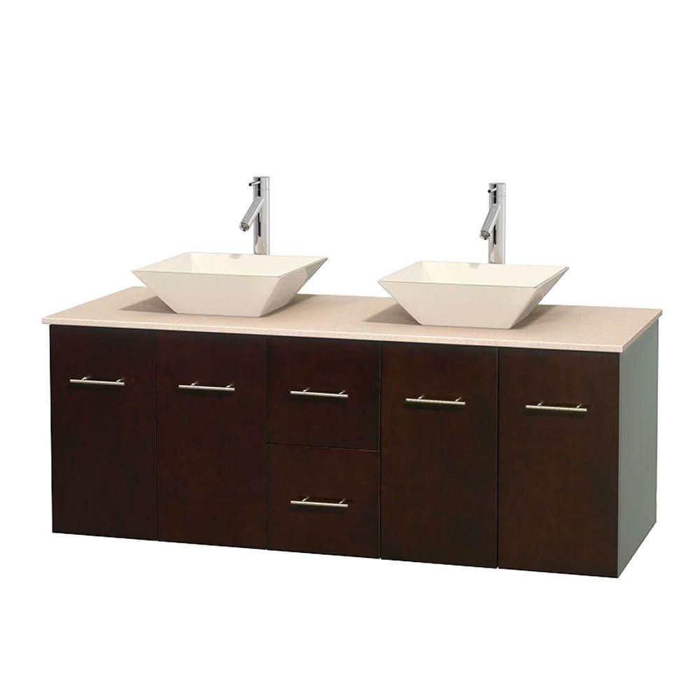 Centra 60-inch W Double Vanity in Espresso with Marble Top in Ivory with Bone Basins