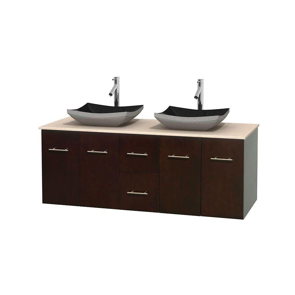 Centra 60-inch W Double Vanity in Espresso with Marble Top in Ivory with Black Basins