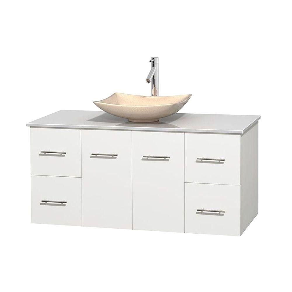 Centra 48-inch W Vanity in White with Solid Top with Ivory Basin