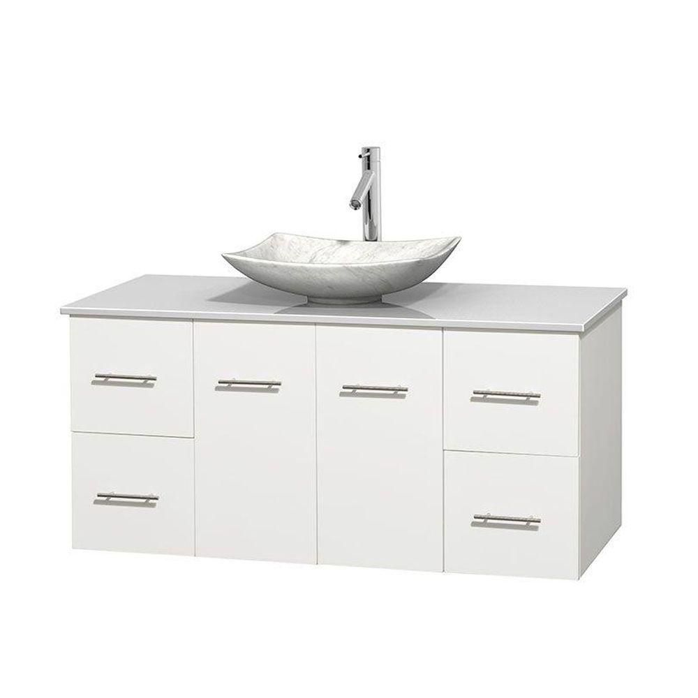 Centra 48-inch W Vanity in White with Solid Top with White Basin
