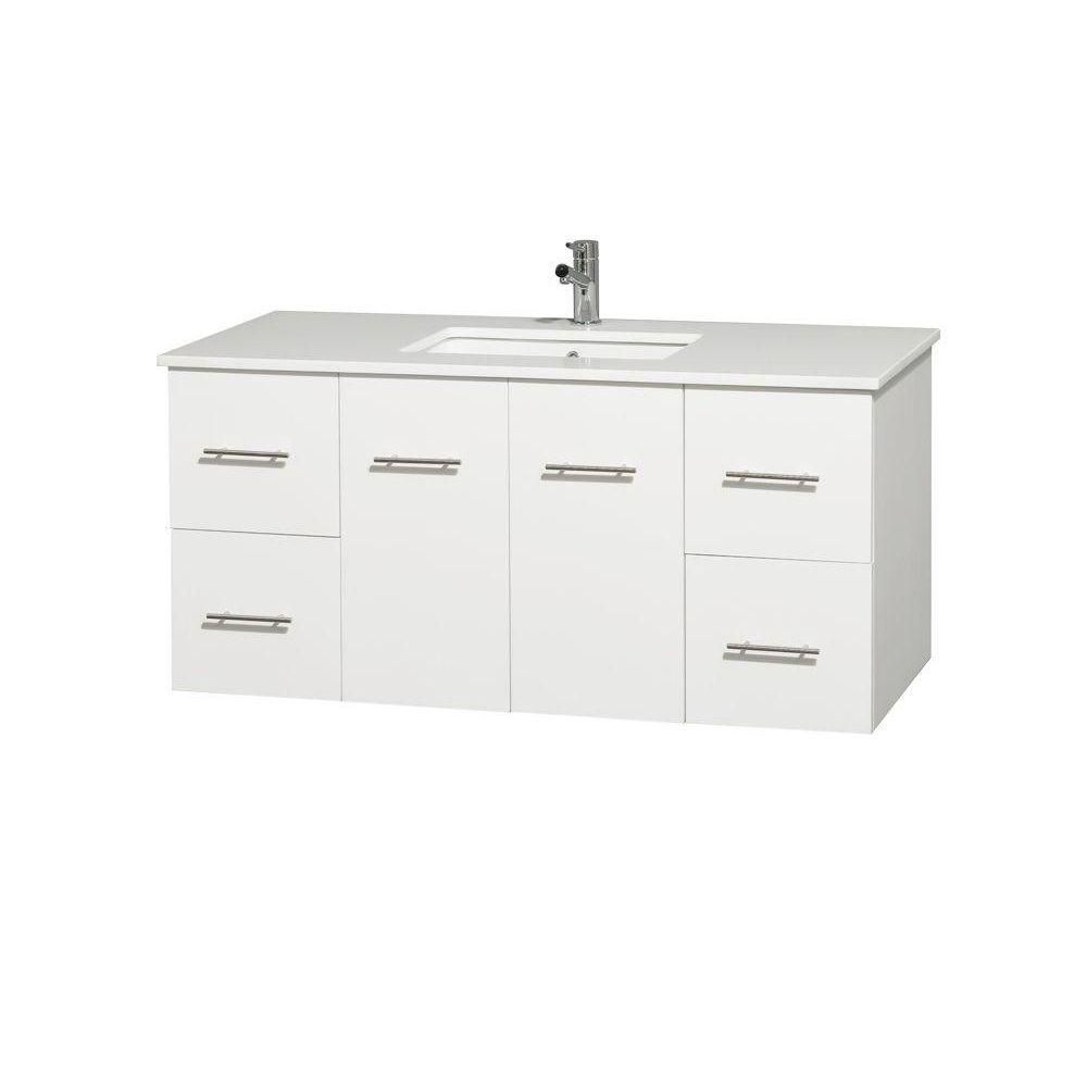 Centra 48-inch W Vanity in White with Solid Top and Square Sink